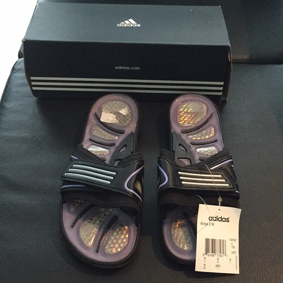 f300b894b793f adidas Shoes - Adidas slides sandals black silver lilac sz 9 new